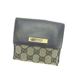 Gucci Wallet Purse Folding wallet G logos Beige Black Woman Authentic Used